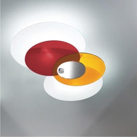 plafoniera hula hoop rosso arancio bianco LL